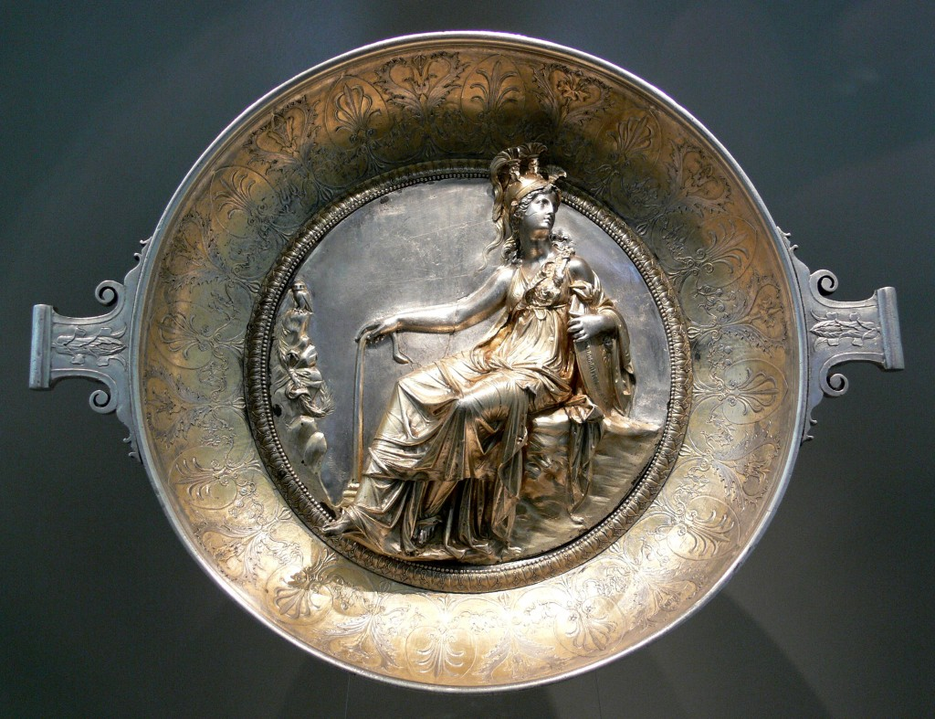 Silver cup with Athena seated from the Hildesheim Treasure. Photograph by Andreas Praefcke from Wikipedia