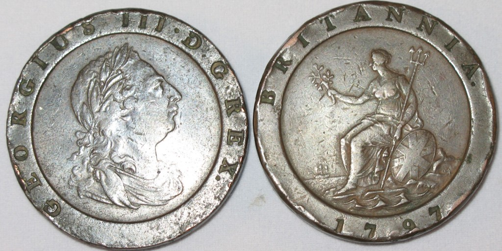 Cartwheel two penny coins produced by the Soho Mint