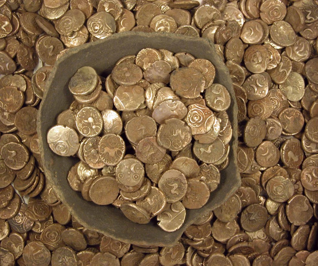 Dallinghoo/Wickham Market Hoard, 840 Iron Age gold staters of the Iceni tribe, found by metal detectorists in 2008.