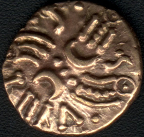 Celtic gold quarter stater of Tasciovanus