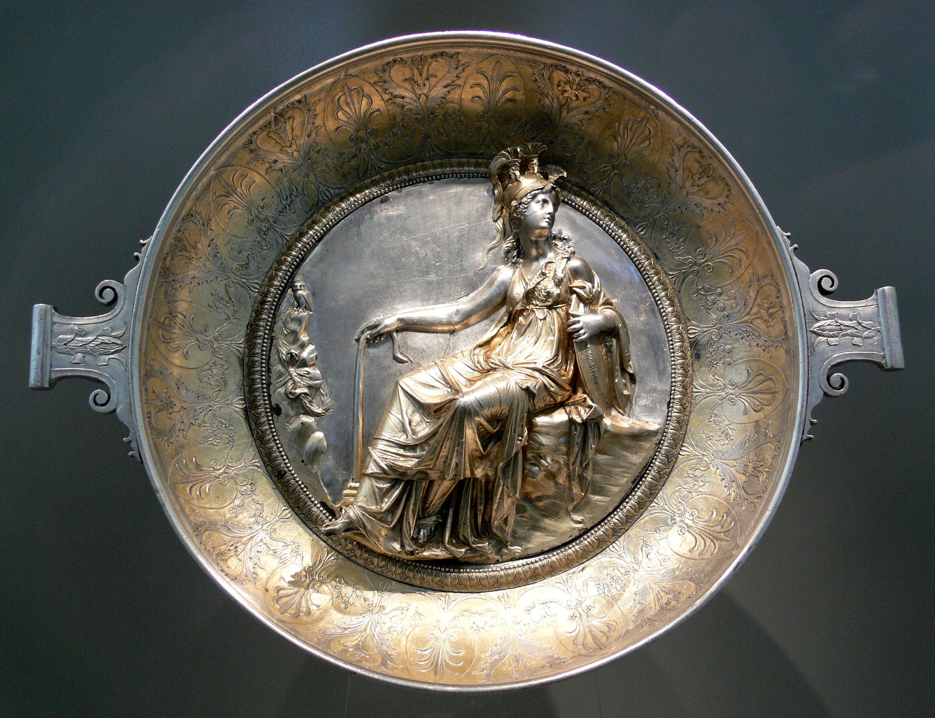 Silver cup with Athena seated from the Hildesheim