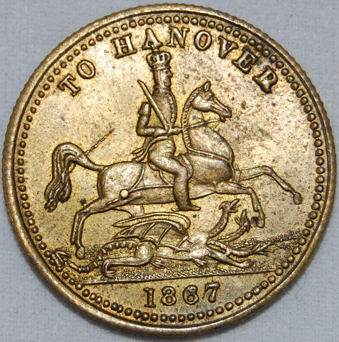 Queen Victoria 'To Hanover' gaming tokens or jettons, 1837 or 1867