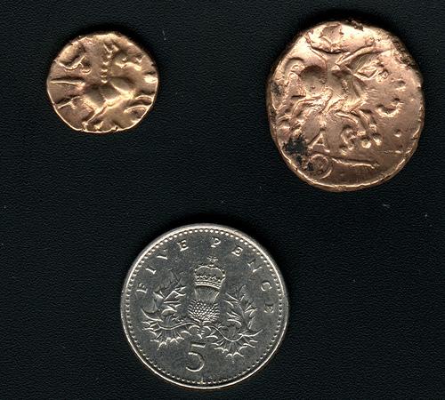 Celtic gold staters of Tasciovanus. Celtic gold coins.