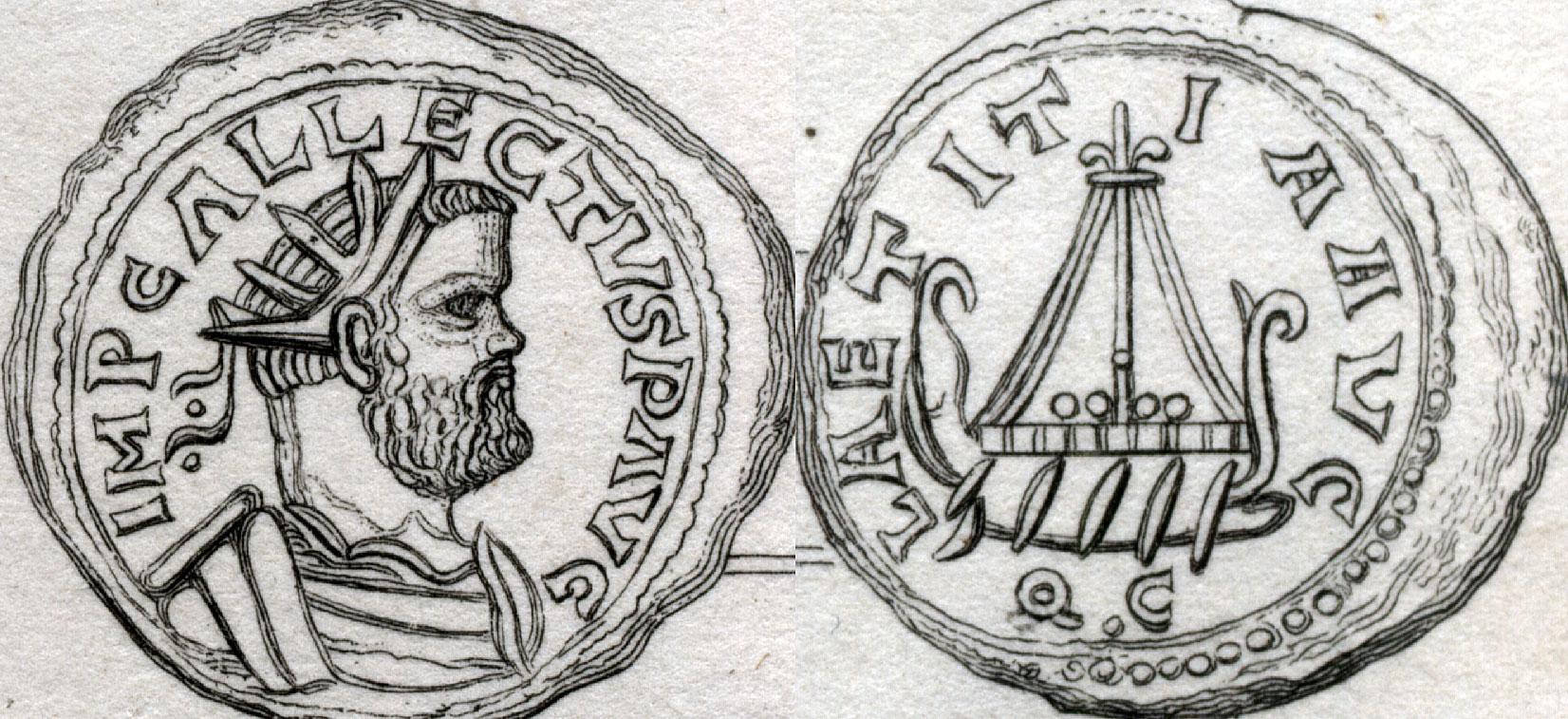 Roman coin of Allectus, Galley type