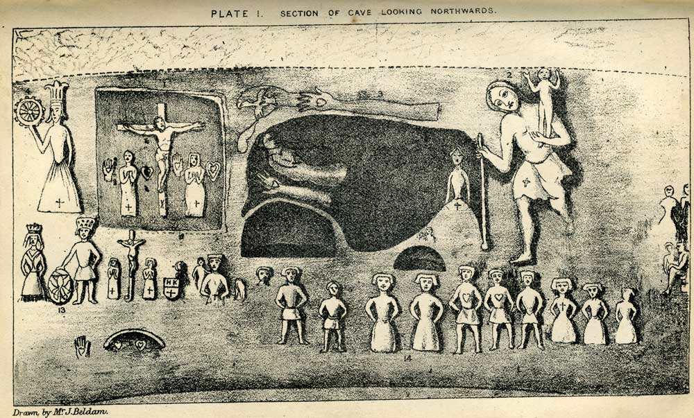 Plate I from Joseph Beldam's book The Origins and Use of the Royston Cave, 1884